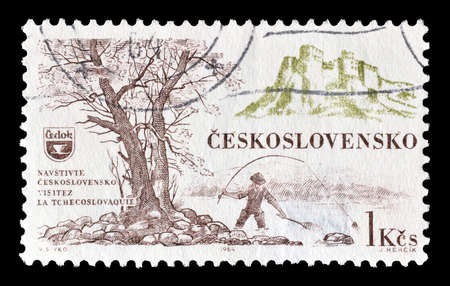 philately: Cancelled postage stamp printed by Czechoslovakia, that shows Fihing, circa 1964.