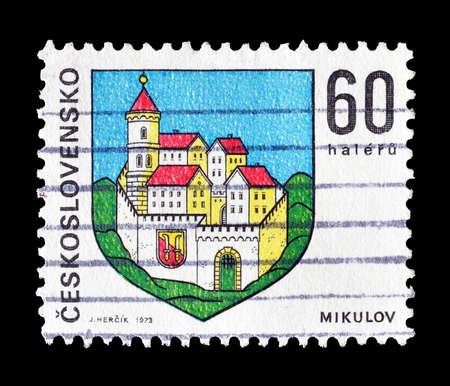 czechoslovakia: Cancelled postage stamp printed by Czechoslovakia, that shows Mikulov castle, circa 1973.
