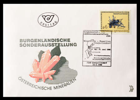 first day: First day cover letter printed by Austria, that shows Minerals, circa 1986.