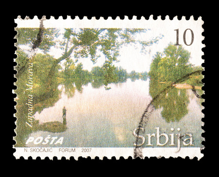 morava: Cancelled postage stamp printed by Serbia, that shows River Zapadna Morava, circa 2007.