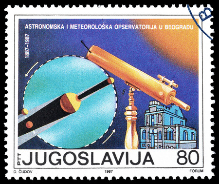 yugoslavia: Cancelled postage stamp printed by Yugoslavia, that shows Observatory in Belgrade, circa 1987. Editorial