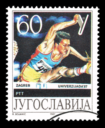 yugoslavia: Cancelled postage stamp printed by Yugoslavia, that shows Race with hurdles, circa 1987. Editorial