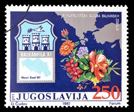 yugoslavia: Cancelled postage stamp printed by Yugoslavia, that promotes Balkanfila, circa 1987.