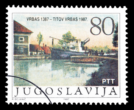 yugoslavia: Cancelled postage stamp printed by Yugoslavia, that shows Titov Vrbas, circa 1987. Editorial