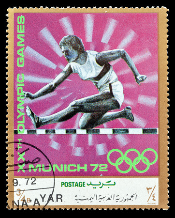 hurdles: Cancelled postage stamp printed by Yemen, that shows Hurdles, circa 1971. Editorial
