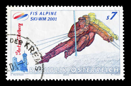 postage: Cancelled postage stamp printed by Austria, that shows Alpine skiing, circa 2000. Editorial