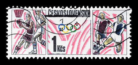 olympic sports: Cancelled postage stamp printed by Czechoslovakia, that shows Olympic sports, circa 1988. Editorial