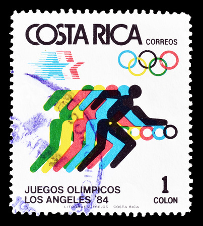 olympic sports: Cancelled postage stamp printed by Costa Rica, that shows Olympic sports, circa 1984.