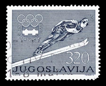 yugoslavia: Cancelled postage stamp printed by Yugoslavia, that shows Ski jump, circa 1976.