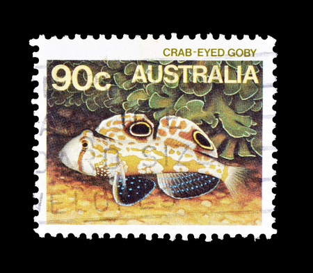 Cancelled postage stamp printed by Australia, that shows Crab eyed goby, circa 1984.