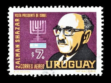 philately: Cancelled postage stamp printed by Uruguay, that shows Zalman Shazar, circa 1966. Editorial