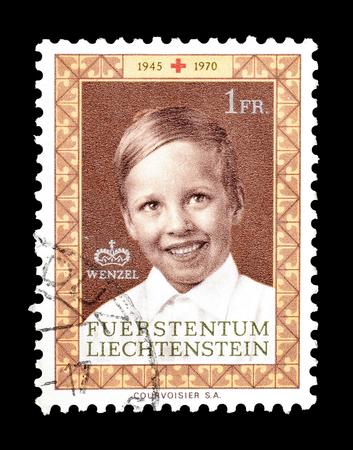 liechtenstein: Cancelled postage stamp printed by Liechtenstein, that shows Prince Wenzel, circa 1970. Editorial