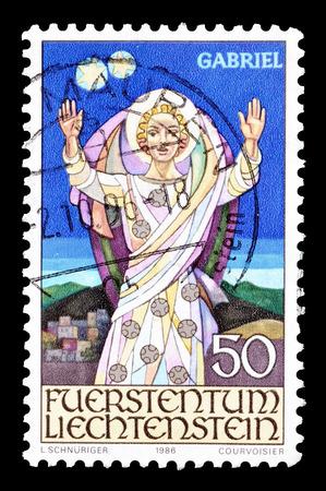 liechtenstein: Cancelled postage stamp printed by Liechtenstein, that shows Angel Gabriel, circa 198.