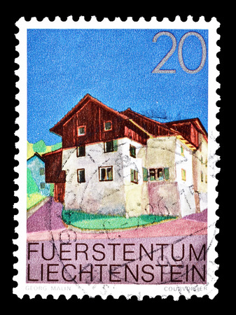 Cancelled postage stamp printed by Liechtenstein, that shows Upper village of Triesen, circa 1978.
