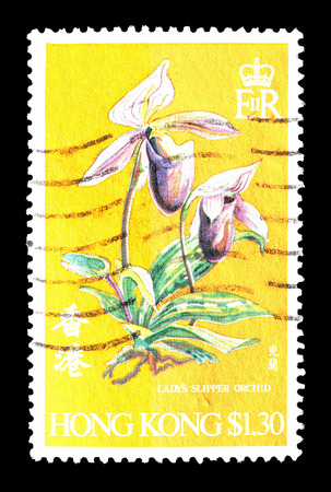 philately: Cancelled postage stamp printed by Hong Kong, that shows Orchid, circa 1977. Editorial