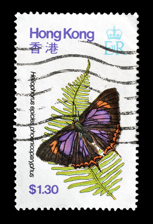 postage: Cancelled postage stamp printed by Hong Kong, that shows Heliophorus epicles phoenicoparyphus butterfly, circa 1979. Editorial