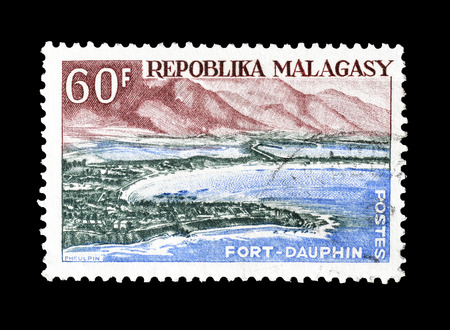 fort dauphin: Cancelled postage stamp printed by Madagascar, that shows Fort Dauphin, circa 1962.