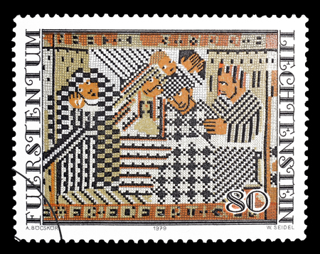 philately: Cancelled postage stamp printed by Liechtenstein, that shows Tapestry, circa 1979.