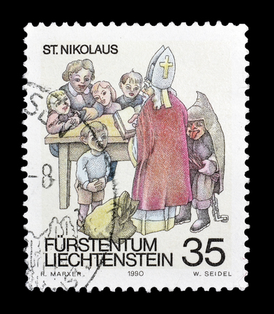 nikolaus: Cancelled postage stamp printed by Liechtenstein, that shows Saint Nikolaus, circa 1990.