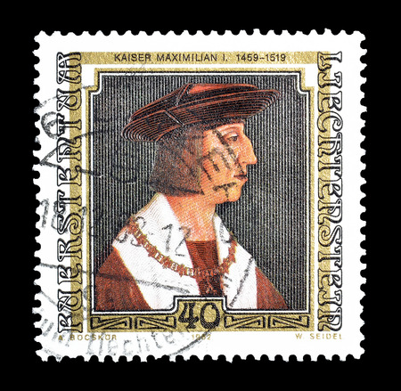 Cancelled postage stamp printed by Liechtenstein, that shows Painting of Kaiser Maximilian I, circa 1982. Editorial