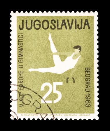 yugoslavia: Cancelled stamp printed by Yugoslavia, that shows Gymnastics, circa 1963. Editorial