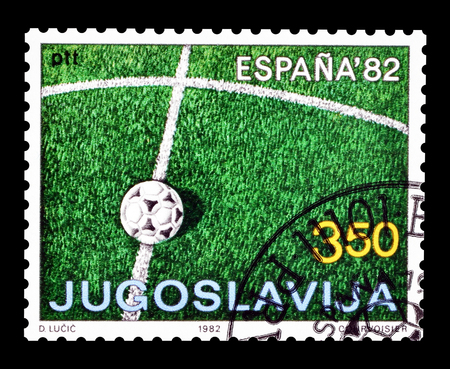 Cancelled postage stamp printed by Yugoslavia, that shows Football, circa 1982.