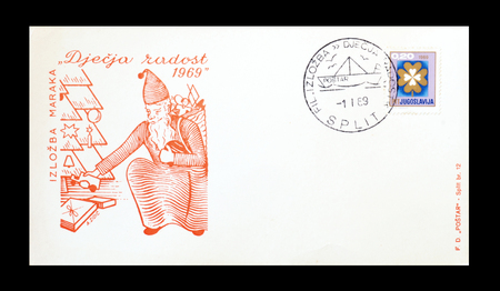 yugoslavia: Cancelled First Day Cover Letter printed by Yugoslavia, that shows Santa Claus, circa 1969. Editorial