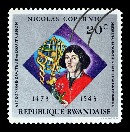 Cancelled stamp printed by Rwanda, that shows Nicolas Copernicus, circa 1973.