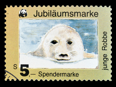 Cancelled stamp printed by Austria, that shows Young seal, circa 1980.