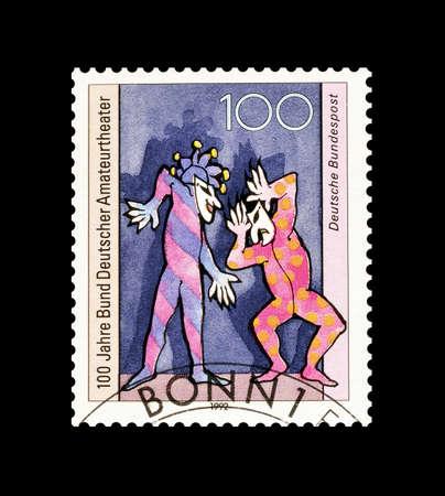 amateur: Cancelado sello impreso por Alemania, que muestra el teatro amateur, alrededor de 1992.