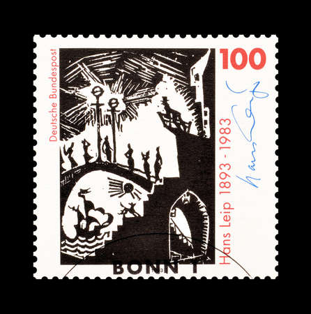 hans: Cancelled postage stamp printed by Germany, that shows Hans Leip, circa 1993.