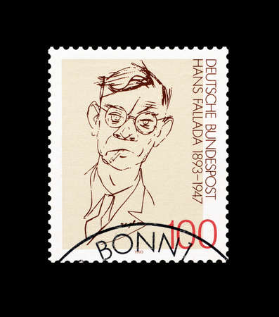 hans: Cancelled postage stamp printed by Germany, that shows Hans Fallada, circa 1993. Editorial