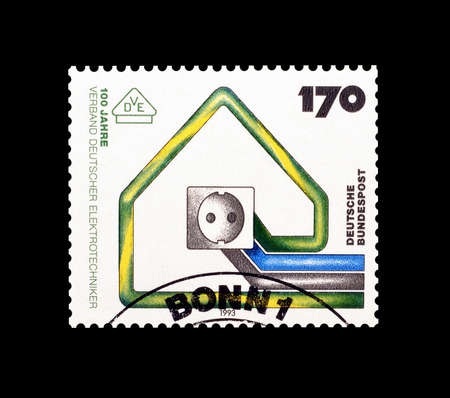 electric socket: Cancelled postage stamp printed by Germany, that shows Electric socket, circa 1993.