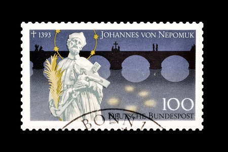 johannes: Cancelled postage stamp printed by Germany, that shows Johannes von Nepomuk, circa 1993. Editorial