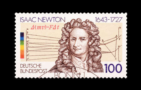 isaac newton: Cancelled postage stamp printed by Germany, that shows Isaac Newton, circa 1993.