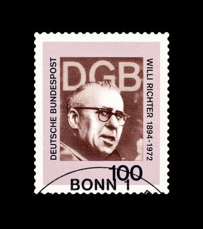 richter: Cancelled postage stamp printed by Germany, that shows Willi Richter, circa 1993.