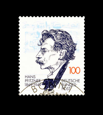 hans: Cancelled postage stamp printed by Germany, that shows Hans Pfitzner, circa 1994. Editorial