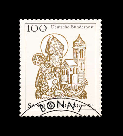 wolfgang: Cancelled postage stamp printed by Germany, that shows Saint Wolfgang, circa 1994.