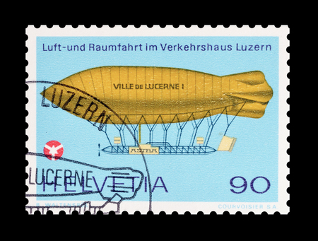 ville: Cancelled postage stamp printed by Switzerland, that shows Airship Ville de Lucerne, circa 1975. Editorial