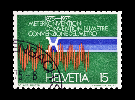 spectral: Cancelled postage stamp printed by Switzerland, that shows Krypton spectral line, circa 1975.
