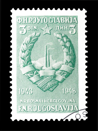 yugoslavia: Cancelled postage stamp printed by Yugoslavia, that shows Coat of arms of Bosnia and Herzegovina, circa 1948.