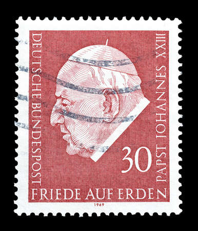 johannes: Cancelled postage stamp printed by Germany, that shows Pope Johannes, circa 1969.