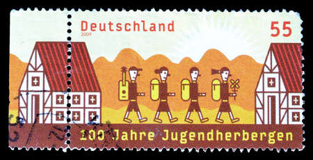 niños saliendo de la escuela: Cancelled postage stamp printed by Germany, that shows Children going to school, circa 2009.