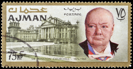 churchill: Cancelled postage stamp printed by Ajman, that shows Winston Churchill and Blenheim palace, circa 1966. Editorial