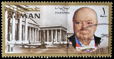 Cancelled postage stamp printed by Ajman, that shows Winston Churchill and British museum, circa 1966.