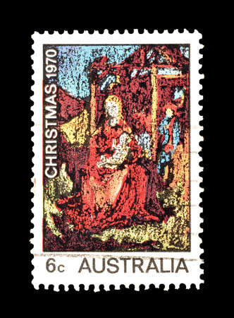 australia stamp: Cancelled postage stamp printed by Australia, that shows Christmas, circa 1970.