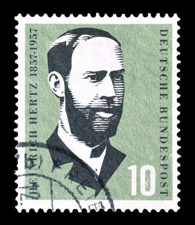 heinrich: Cancelled postage stamp printed by Germany, that shows Heinrich Hertz, circa 1957.