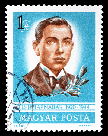 barnabas: Cancelled postage stamp printed by Hungary, that shows Pesti Barnabas, circa 1973. Editorial