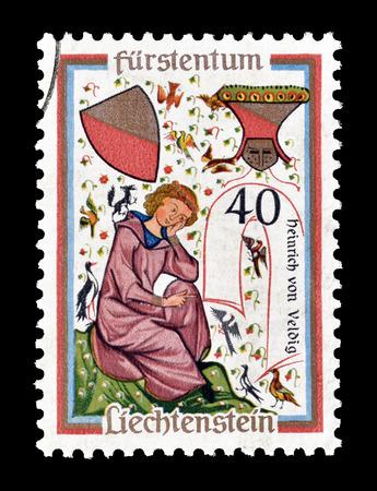 Cancelled postage stamp printed by Liechtenstein, that shows Heinrich of Veldig, circa 1962. Editorial