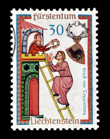 Cancelled postage stamp printed by Liechtenstein, that shows Kraft of Toggenburg, circa 1962.